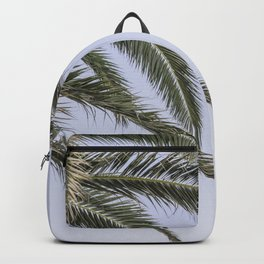 Island vibes palm tree leaves in the wind in a summer sky photography print 2 Backpack