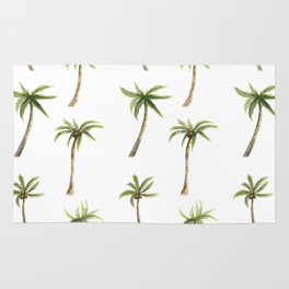 Watercolor palm trees pattern Rug