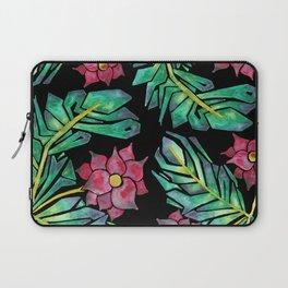 black tropical watercolor floral Laptop Sleeve