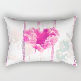 Bleed | Modern Pink Cloud Love Heart Pink Watercolor Drips Rectangular Pillow