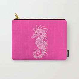 Intricate Pink Tribal Seahorse Design Carry-All Pouch