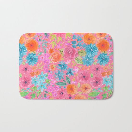 Floral watercolor pattern in pink Bath Mat