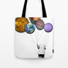 Planet balloon girl Tote Bag