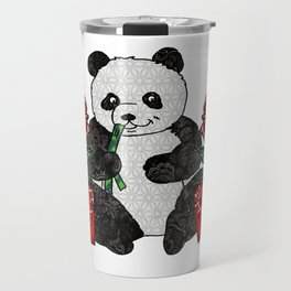 Panda with red rubies and red roses Travel Mug