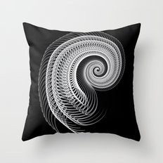 Black And White Skeletal Shell  Throw Pillow
