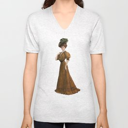Woman in yellow dress Edwardian Era in Fashion Unisex V-Neck