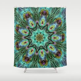 Colorful Peacock Feather Kaleidoscope Shower Curtain