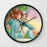 nausicaa Wall Clocks featuring Nausicaa of the Valley of the wind by Adriana Rodriguez Art