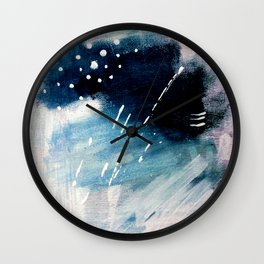 Meteor Shower - an abstract acrylic piece in blue and white Wall Clock