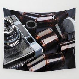 Vintage rangefinder camera and rolls color negative film Wall Tapestry