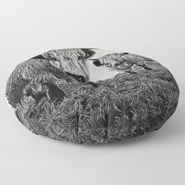 Two Shaggy Cows Floor Pillow