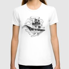 WHALESHIP LARGE White Womens Fitted Tee