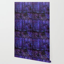 Van Gogh Trees & Underwood Purple Blue Wallpaper