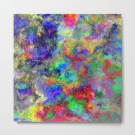 Abstract bright colorful watercolor brushstrokes pattern Metal Print