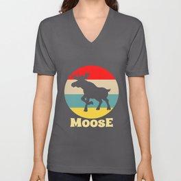 Moose Retro Vintage Colorful Deer Elk Reindeer Unisex V-Neck