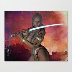 Samurai Warrior sword girl Canvas Print