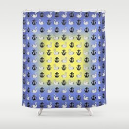 Captain Swan – Lieutenant Duckling pattern Shower Curtain