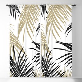 Gold Black Palm Leaves Dream #1 #tropical #decor #art #society6 Blackout Curtain