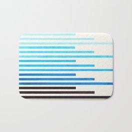 cerulean blue watercolor gouache painting minimalist geometric stripe pattern Bath Mat