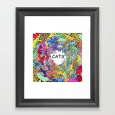 Colorful Rainbow Cats Framed Art Print