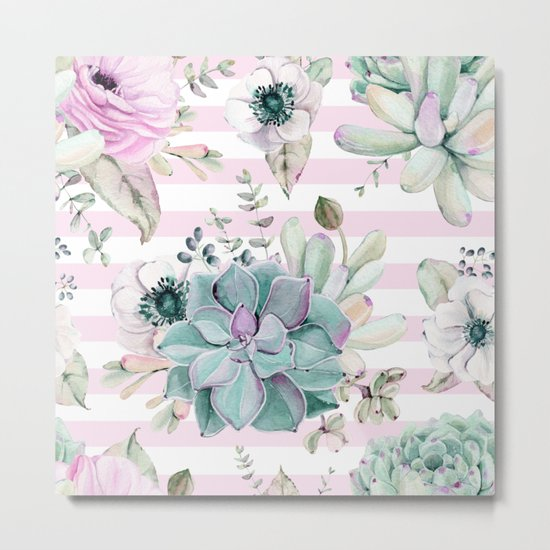 Simply Succulent Garden on Desert Rose Pink Striped Metal Print