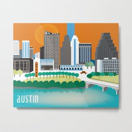Austin, Texas - Skyline Illustration by Loose Petals Metal Print