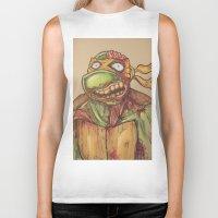 ninja turtle Biker Tanks featuring zombie ninja turtle by mileshustonart