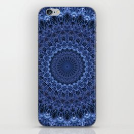 Dark and light blue tones mandala iPhone Skin