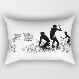 Banksy Trolleys Men Hunting Supermarket Carts Artwork Reproduction for Prints Posters Tshirts Rectangular Pillow