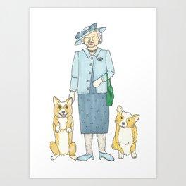 The Queen & Her Corgis Art Print