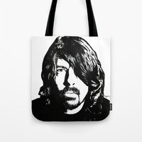 dave grohl Tote Bags featuring Dave Grohl (2) by Carolyn Campbell