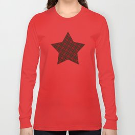 Adorable Red Christmas tartan Long Sleeve T-shirt