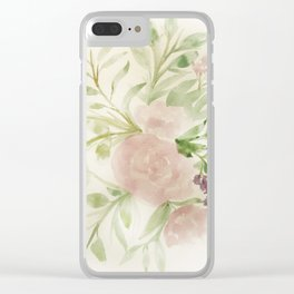 Blush Roses Watercolor No. 2 Clear iPhone Case