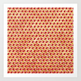 Xmas Geometric Hexagon Pattern Art Print