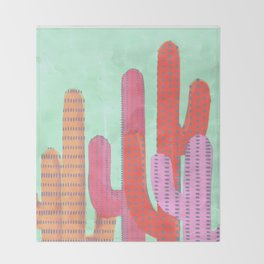 Funny Cactus Jungle Throw Blanket