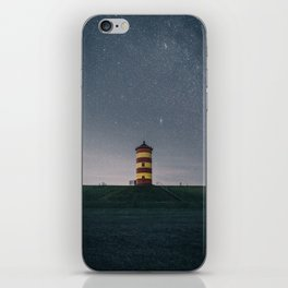Pilsum Lighthouse at starry night iPhone Skin