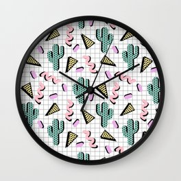 Sweetness - memphis retro grid cactus pastel neon 80s style classic socal beach life surf desert art Wall Clock