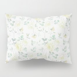 Bohemian baby yellow green vintage roses floral Pillow Sham