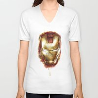 iron man V-neck T-shirts featuring Iron Man by beart24
