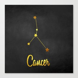 Cancer Zodiac Constellation in Gold Canvas Print