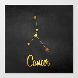 Cancer Zodiac Constellation in Gold Canvas Print