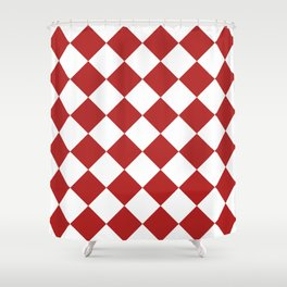Large Diamonds - White and Firebrick Red Shower Curtain