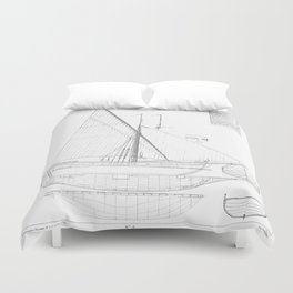 Vintage black & white sailboat blueprint drawing antique nautical beach or lake house preppy decor Duvet Cover
