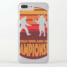 Bigfoot vs Minotaur World Hide and Seek Championship Clear iPhone Case