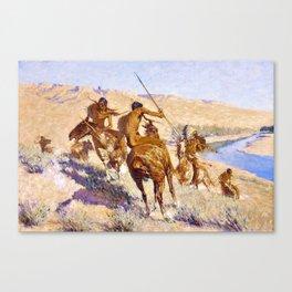 12,000pixel-500dpi - Frederic Remington - Episode of the Buffalo Gun - Digital Remastered Edition Canvas Print