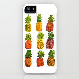 Boho  Loosely Painted Watercolor Pineapples  iPhone Case