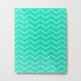 Teal and Yellow Chevron Pattern Metal Print