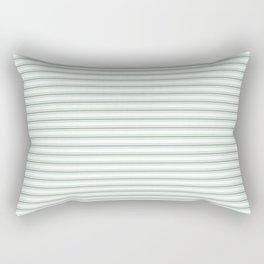 Mattress Ticking Narrow Horizontal Striped Pattern in Moss Green and White Rectangular Pillow