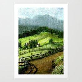 On the hills Art Print