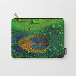 Drops on peacock (This Artwork is a collaboration with the talented artist design  Ganech Joe) Carry-All Pouch